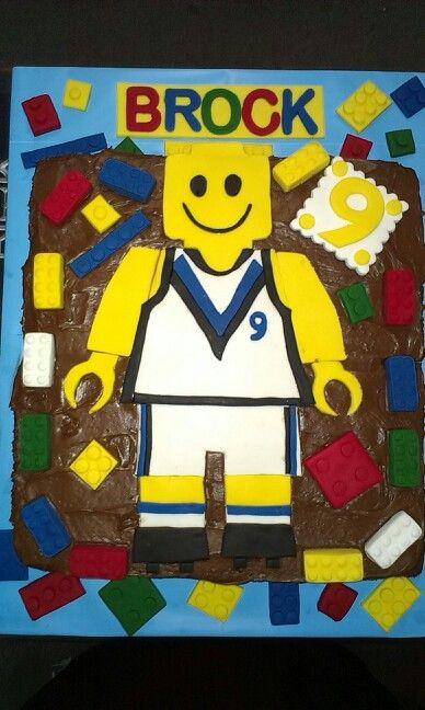 My sons 9th birthday cake.. Port Power Lego Man , Sept 2014