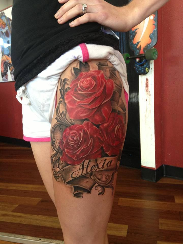 Love this without the writing | Tattoo Ideas-Red Roses ...
