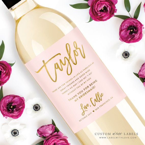 Custom Thank You For Being My Bridesmaid Wine Bottle Labels - Weatherproof Removable Wedding Be My Bridesmaid Bridesmaid Ask