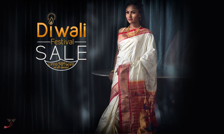 This #Diwali, let the colors of your #sarees be louder than the colors of the #festive Rangoli! Log onto www.shatika.co.in to know more about us. #Diwalisale #Offers #Discount