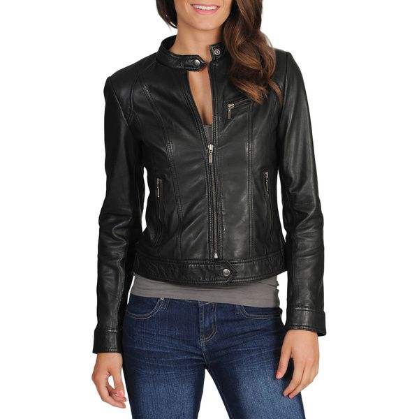 Step out in style with this sleekly designed Whet blu women's motocross black leather jacket. This jacket comes with a metal zipper closing, making it easy to quickly put on or take off. With a supple