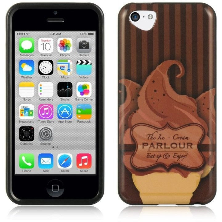 IMD HQ Graphic TPU Protector Case for Apple iPhone 5C - Cocoa Sherbet
