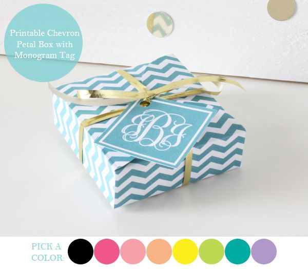 Free printable gift boxes with free personalized monogrammed gift tag.  This is amazing and you can choose from 8 colors!Petals Boxes, Printables Chevron, Gift Wraps, Monograms Tags, Gift Tags, Chevron Petals, Pretty Packaging, Free Printables, Printables Gift Boxes