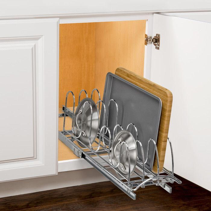 You'll love the Roll Out Pan Lid Holder - Pull Out Kitchen Cabinet Organizer Rack - 7.25 inch wide x 21 inch deep - Chrome at Wayfair - Great Deals on all Storage & Housekeeping  products with Free Shipping on most stuff, even the big stuff.