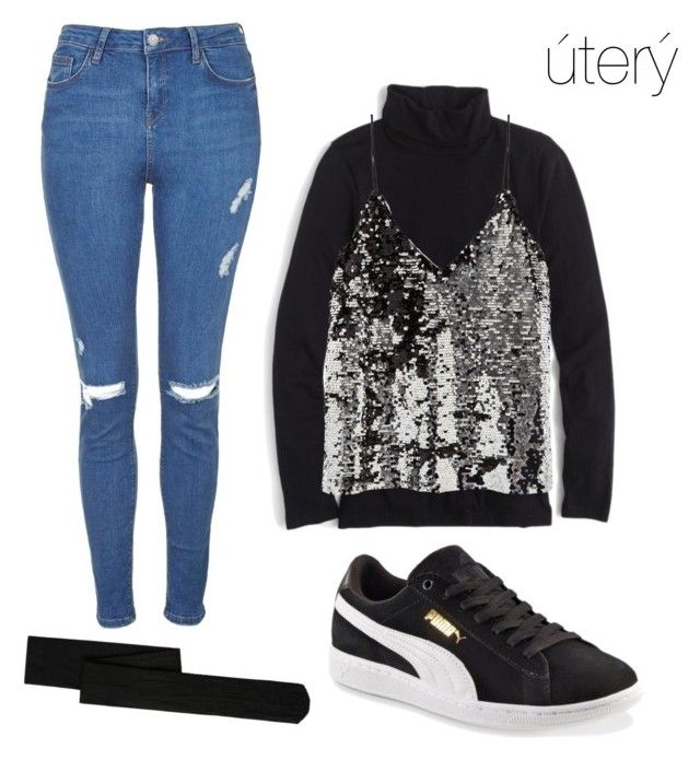 """tuesday school Outfit"" by theo-janickova on Polyvore featuring Topshop, MANGO, J.Crew, Samsøe & Samsøe and Puma"