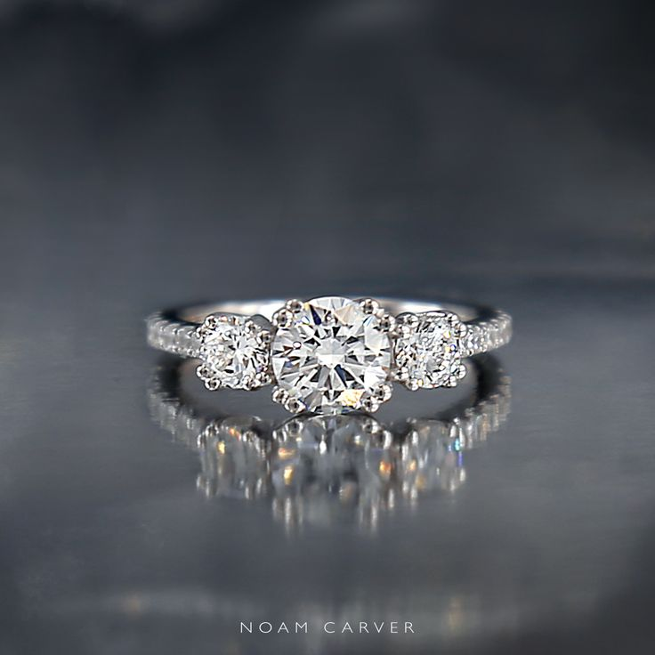 3 stone (three-stone) 18k white gold engagement ring by Noam Carver.