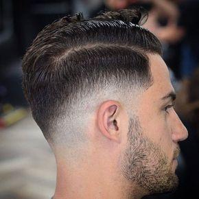 Low Razor Fade + Hard Side Part + Beard