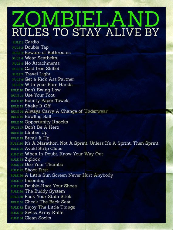 Rules to survive a zombie apocalypse... #1 Cardio, but as a side note: these could work as rules to survive a gym, haha. <3