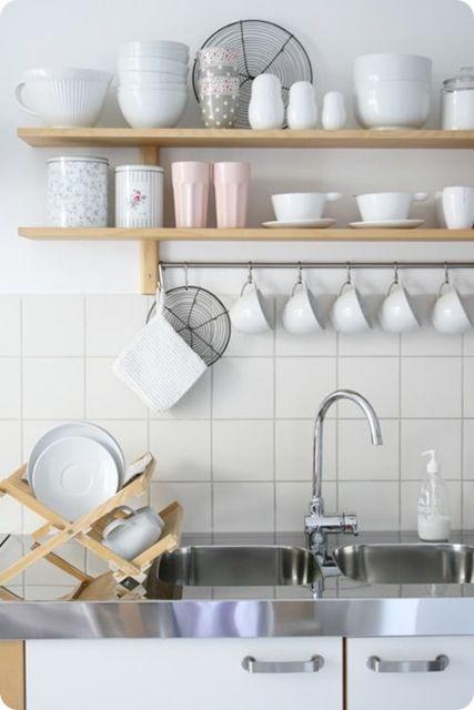 A good solution for adding kitchen storage space: Kitchens Shelves, Open Shelves, White Dishes, Open Kitchens, Kitchens Storage, White Wall, Open Shelf Kitchen, White Kitchens, Stainless Steel
