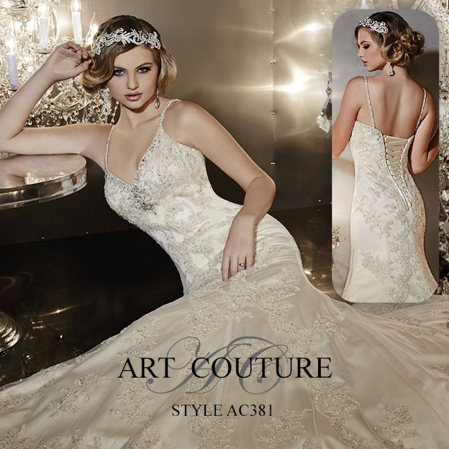 I butikk <3 ABELONE.NO <3  Lace and beaded mermaid wedding dress with embellished neckline, delicate straps and scalloped lace detail from the bodice down to the train. AC381 is available in Ivory, White or Ivory Gold. #artcouture #eternitybridal #weddings #bigday #bridal #bridalgowns #gettingmarried #weddingfashion #weddingdress #lace #vintage