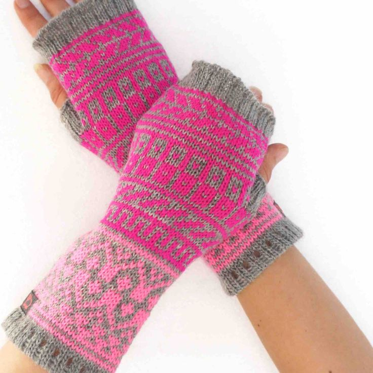 Fingerless mittens in fair isle by NordicKnit on Etsy