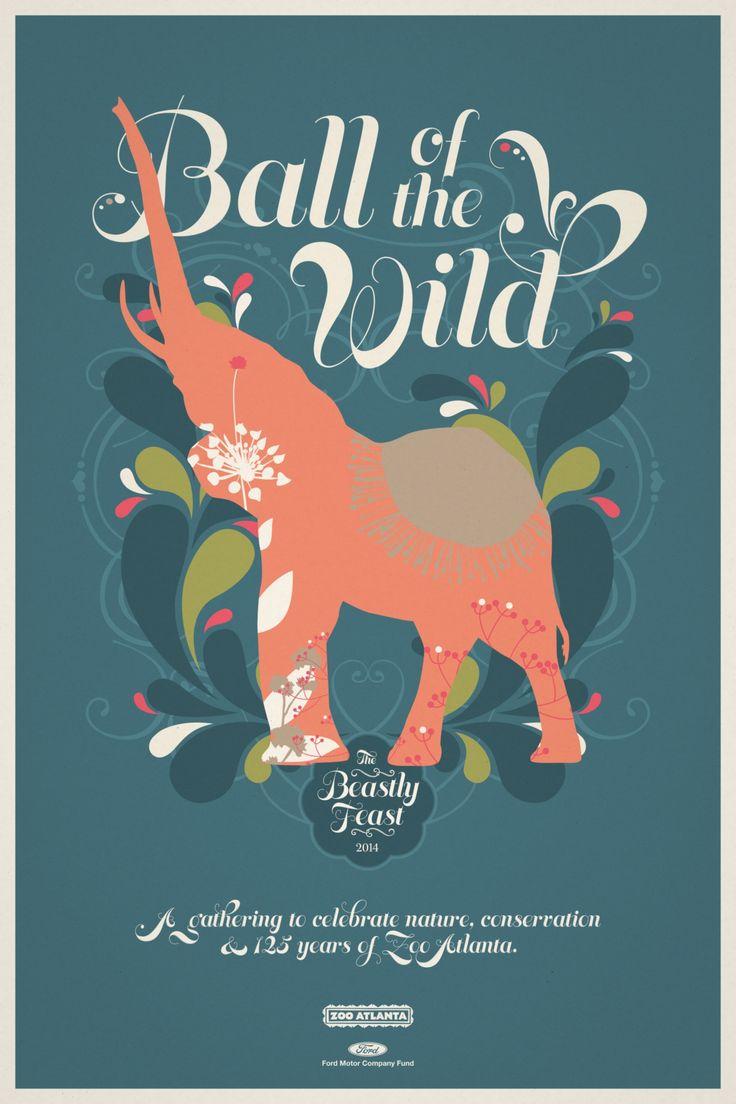 Zoo poster design - Zoo Atlanta Beastly Feast Elephant