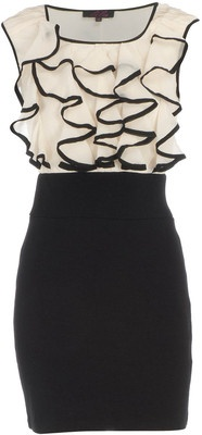 Cream/Black Ruffle Dress