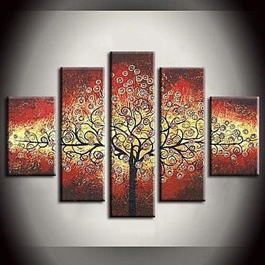 Hand Painted Oil Painting Leaves Colorful Rich Tree Abstract Paintings with Stretched Frame Set of 5 – EUR € 91.22