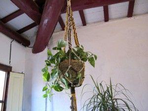 Portamacetas colgante hecho con cuerdas de algodón y técnica de macramé http://www.tuteate.com/2012/10/15/practica-el-macrame-y-cuelga-plantas/