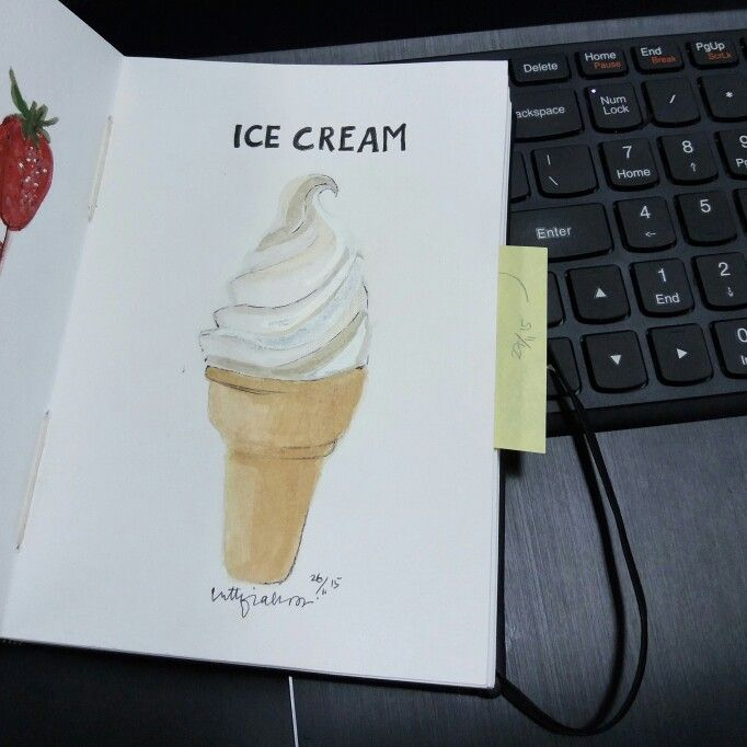 ICE CREAM - WATERCOLOR ON CANSON SKETCHBOOK BY LUTHFIAHRA