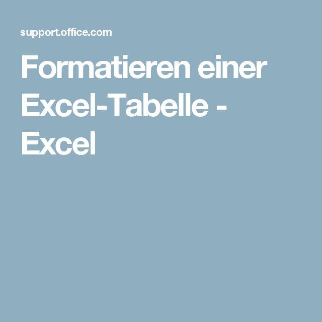 Formatieren einer Excel-Tabelle - Excel