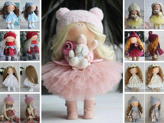 Handmade doll Rag doll Bambole Interior doll Textile doll Tilda doll Fabric doll Pink doll Soft doll Cloth doll Baby doll by Master Oksana Z