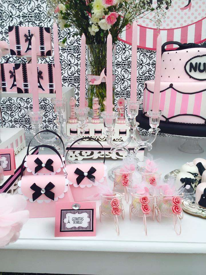 Glam pink and black Paris birthday party! See more party ideas at CatchMyParty.com!
