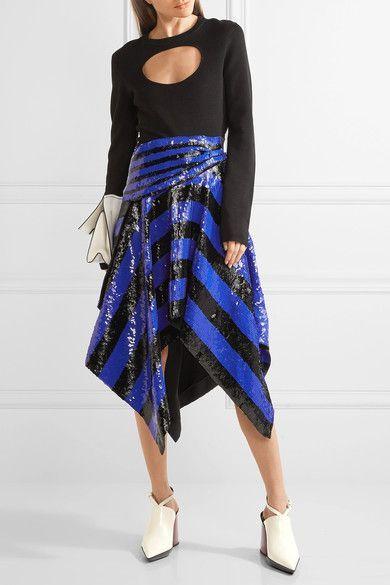 Proenza Schouler - Asymmetric Sequined Silk Wrap Midi Skirt - Indigo - US