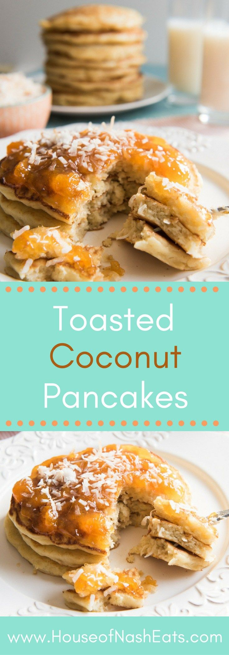 Toasted Coconut Pancakes are light, fluffy, and so easy to make that you don't need to save them just for weekends! Change up your breakfast routine with these yummy and unique pancakes. Made with coconut milk instead of buttermilk, with lots of toasted, sweetened coconut, your family is sure to love these delicious toasted coconut pancakes!