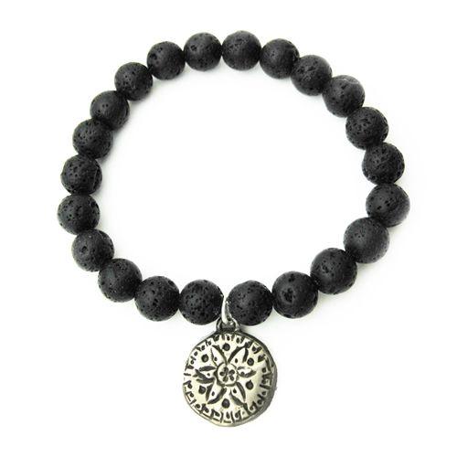 Lava Bead and Mandala Aromatherapy Bracelet