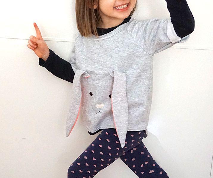 "Bunny Shirt - Free pattern (click ""Raglan Shirt leo for sweatshirt and ""Schnittmuster Ohr"" for the bunny ears) step by step Photo tutorial  Bildanleitung und gratis Schnittvorlage"