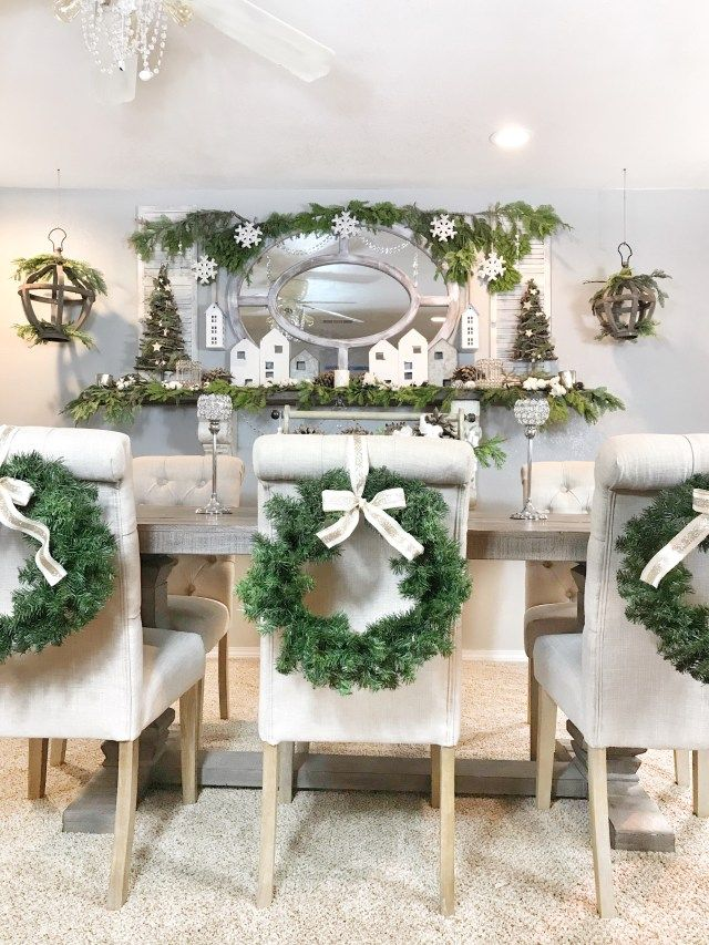 Christmas Dining Room Table Large Wreaths Hanging From The Chairs W Christmas Dining Table Decor Christmas Dining Room Table Decor Christmas Dining Room Table