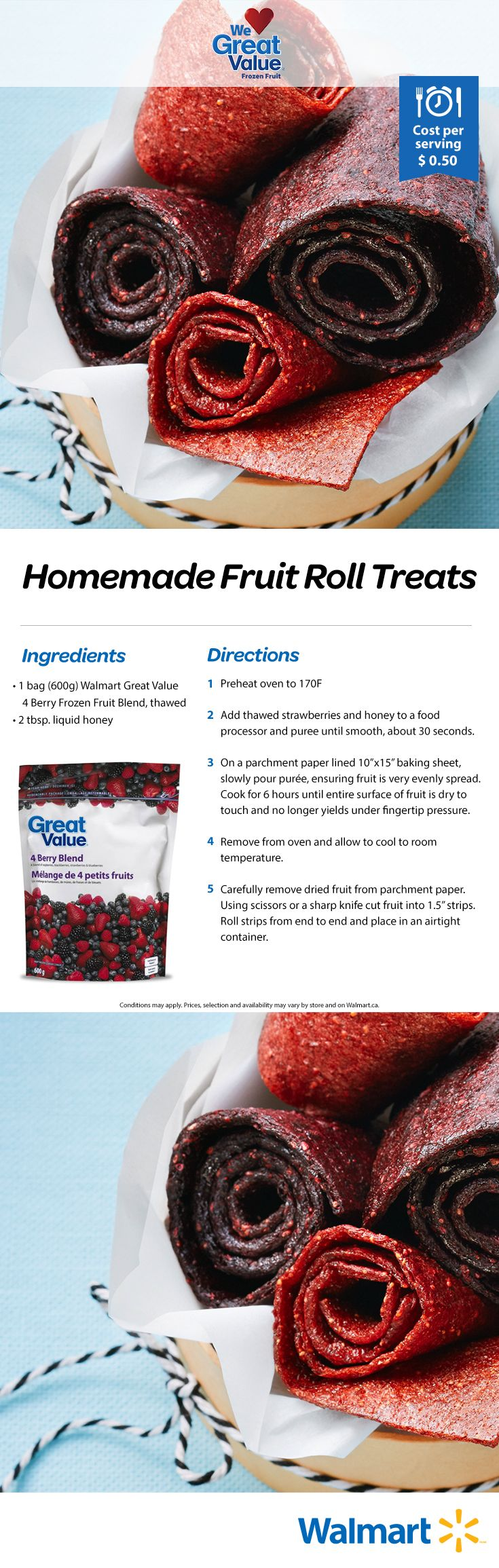 A homemade fruit roll-up your kids will love immediately. All it takes is our Great Value frozen fruit! #realsolutions #fruitrollups #rollups #kidsdesserts #kidssnacks #WeLoveGreatValue