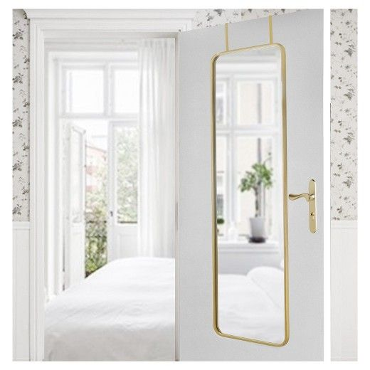 Keep your outfits in check with the Over-the-Door Mirror from Threshold. This versatile mirror can be hung over the door or on the wall vertically or horizontally. Hanging hardware included.