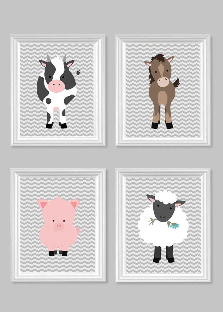 Farm Animal Nursery Art, Farm Kids Decor, Cow, Horse, Pig, Sheep, Lamb, Pony, Grey Chevron, Baby Shower Gift, Gender Neutral Nursery Decor by SweetPeaNurseryArt on Etsy