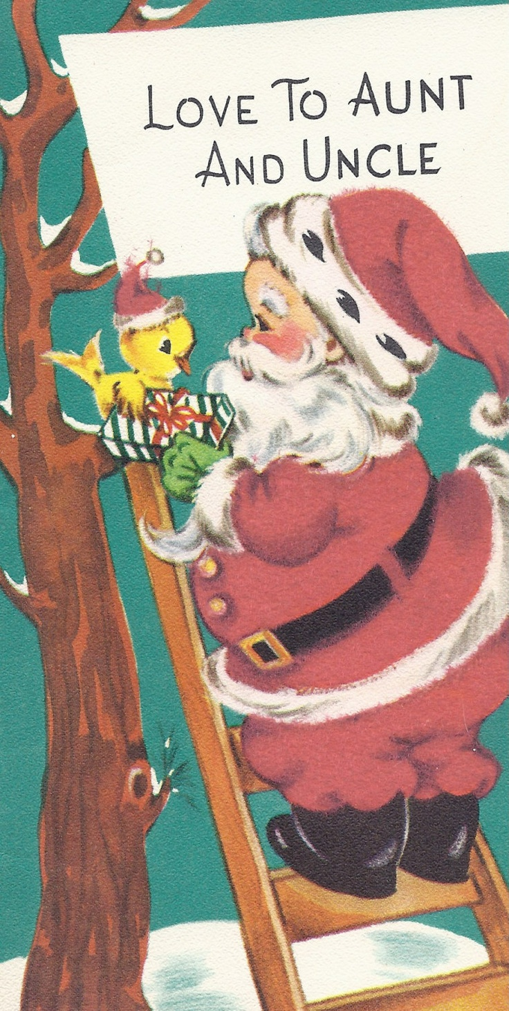 C439 Vintage Christmas Greeting Card - by Gibson - to Aunt and Uncle. $3.00, via Etsy.