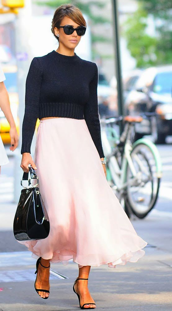 Pink Is Trending. Jessica Alba in Ultra Feminine Look, Cropped Sweater Top and Pastel Pink Chiffon Skirt Heading to Ralph Lauren Spring Summer 2014 Show, New York #Fashion Week  #trending #pink