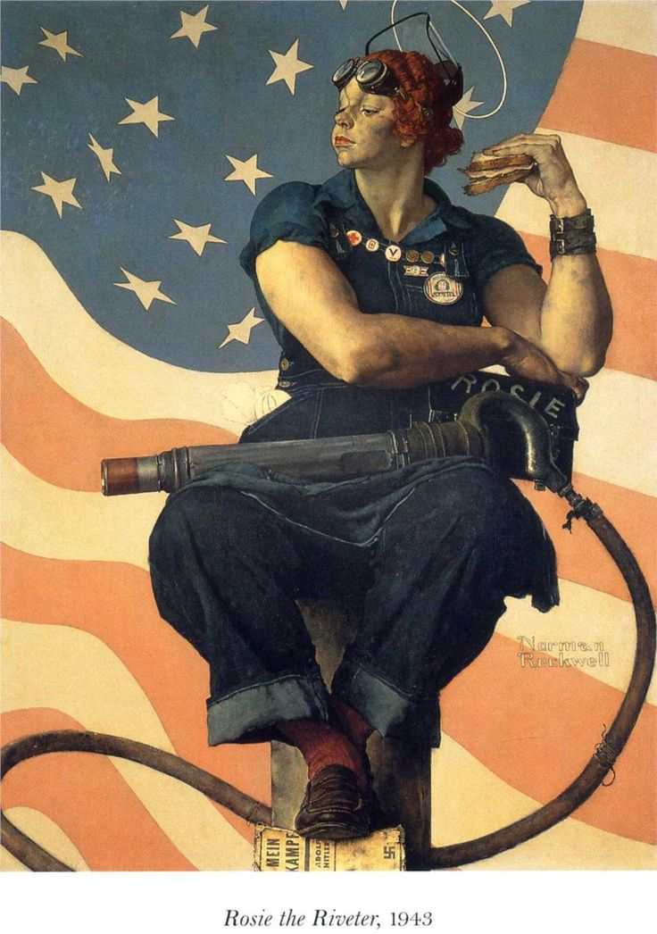 1943 ~ Rosie the Riveter.  Norman Rockwell patterned Rosie's 'pose' after Michelangelo's famous figure of Isaiah the prophet, on the Sistine Chapel ceiling fresco.
