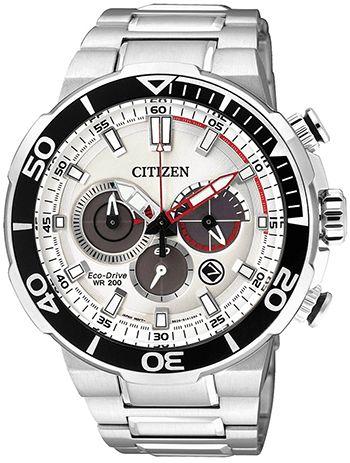 Montre- Citizen Homme CA4250-54A - Quartz - Chronographe - Cadran et Bracelet en Acier Argent - Date - Etanche 20 bar - Eco Drive