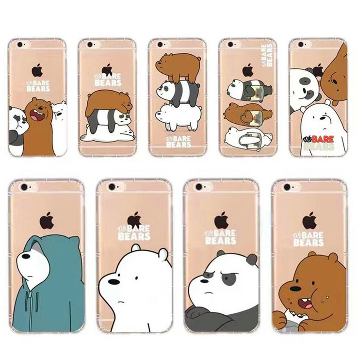 Cute Cartoon Animation Phone Case For iphone 7plus 6plus 5s We Bare Bears Grizzly & Panda & Ice Bear Thicken Soft TPU Back Cover