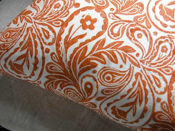 "Paisley Design is hand stamped in a color I would describe as coral meets tangerine on gorgeous bright white linen and sewn into this 18"" x 18"" pillow case. $44: Pillows Cases, Pillows Covers, White Hands, Tangerine Paisley, Hands Stamps, Linens Pillows, Paisley Design, Paisley Pretty, Prints Linens"