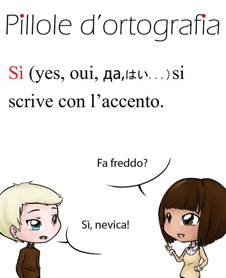 Sì, affermazione, vuole l'accento #italianlanguage #italianlesson…