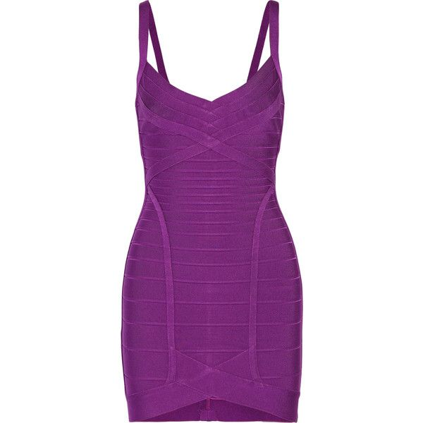 Hervé Léger Bandage mini dress ($585) ❤ liked on Polyvore featuring dresses, violet, herve leger dress, purple mini dress, mini bandage dress, hervé léger and short bandage dress