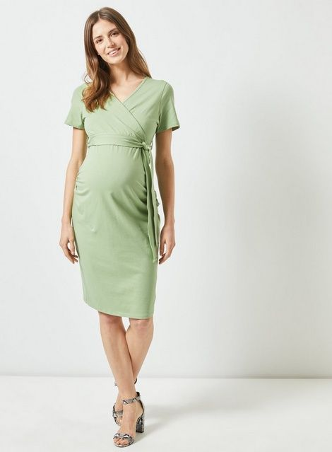 3ba9a7507f318 Womens **Maternity Green Sage Ruched Wrap Nursing Dress- Green in ...