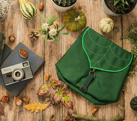 Dark Green Leaf Mini Backpack Waterproof Leaf Bag Backpack