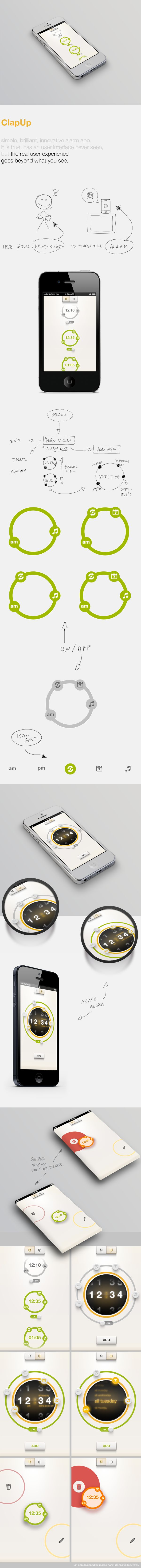 ClapUp - iOS simple and brillant alarm's App by Marco Nenzi, via Behance