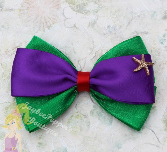 Ariel Hair bow The Little Mermaid hair bow Ariel by JaybeePepper
