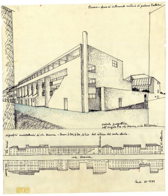 Carlo Aymonino - Edificio ad abitazioni in via Mazza, Pesaro, 1978/1982 (con Francesco Doglioni e Maria Luisa Tugnoli) China e matite colorate su carta da lucido