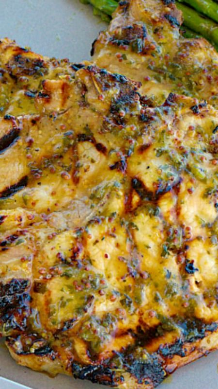 Herb Marinated Grilled Pork Chops ~ a moist and delicious marinade for pork consisting of herbs, honey and whole grain mustard.