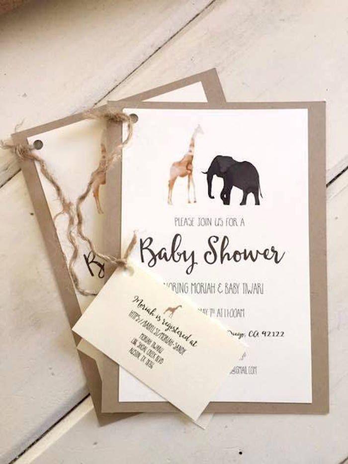 Invitation from Boho Safari Baby Shower at Kara's Party Ideas. See more at karaspartyideas.com!
