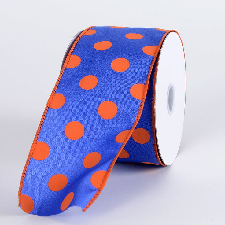 Satin Polka Dot Ribbon Wired Royal Blue with Orange Dots ( Width: 2-1/2 inch | Length: 10 Yards ) - BBCrafts - Wholesale Ribbon, Tulle Fabrics, Wedding Supplies, Tablecloths & Floral Mesh at Best Prices