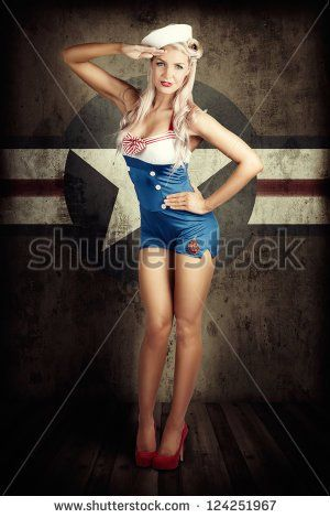 Grunge Portrait Of A Beautiful American Retro Female Cadet Dressed In Navy Uniform While Saluting In A Military Pin Up Girl Concept On Army Star Background