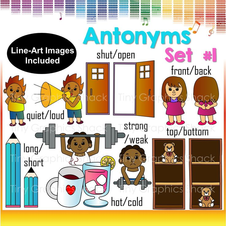 This is the first set of antonyms clip art. You can create educational resources with these crisp high quality images.   quiet loud open shut strong weak front back long short hot cold top bottom