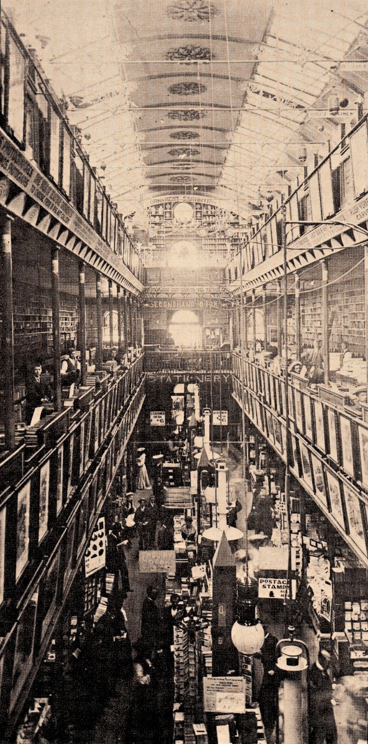 COLE'S BOOK ARCADE Bourke Street Melbourne interior in the 1880's. From Cole of the Book Arcade : A biography of E.W Cole by Cole Tunley 1974 (minkshmink) #colesfunnypicturebook #colesbookarcade